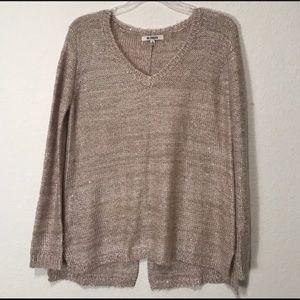 Oatmeal v-neck split back sweater